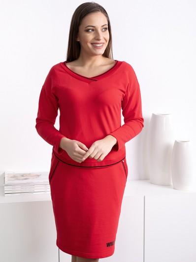 Sukienka klasyczna czerwona w stylu casual, z dzianiny  i z rękawem Bee Collection Luda