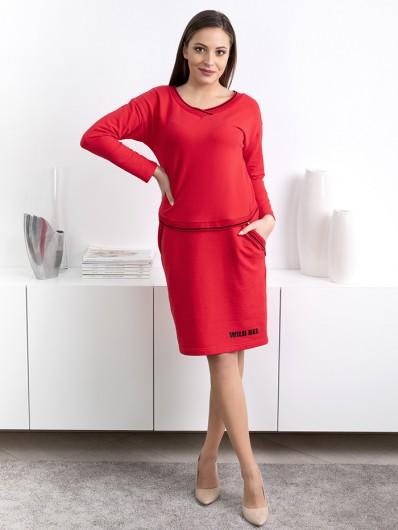 Sportowa a jednocześnie elegancka sukienka , komfortowa z rękawem, midi Be Collection Luda