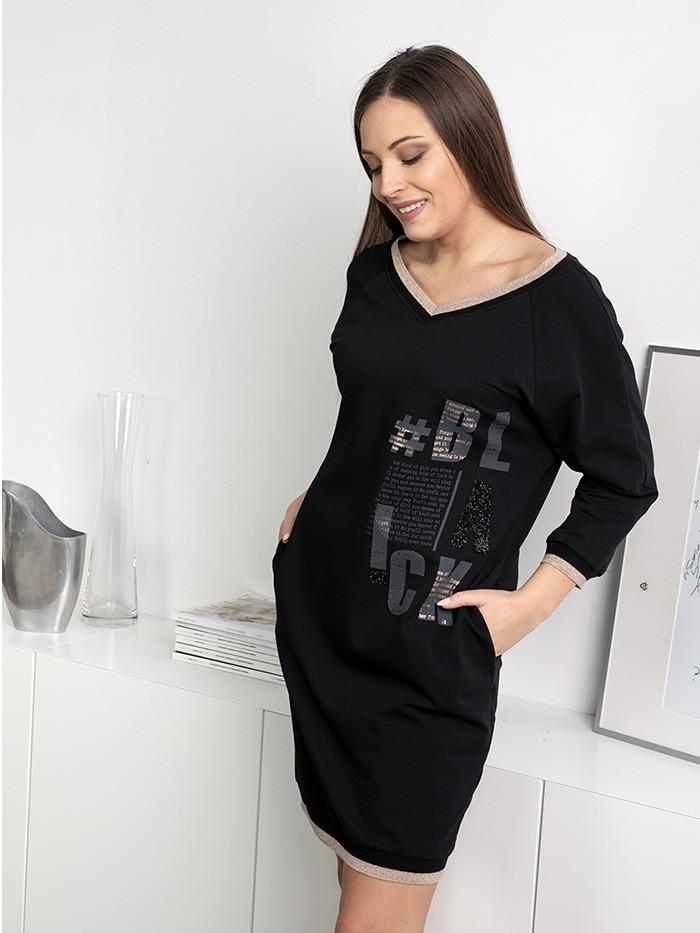 Casualowa sukienka tuszująca brzuszek czarna przed kolano Bee Collection  Blanka