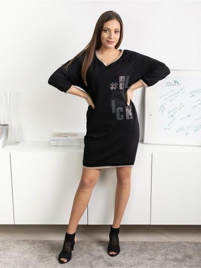 Modna, komfortowa, czarna sukienka z reglanowym rękawem z dzianiny bawełnianej Bee Collection Blanka