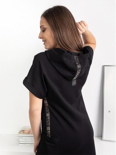 Wygodna, casualowa długa sukienka z kapturem maxi z dzianiny Bee Collection Luxia