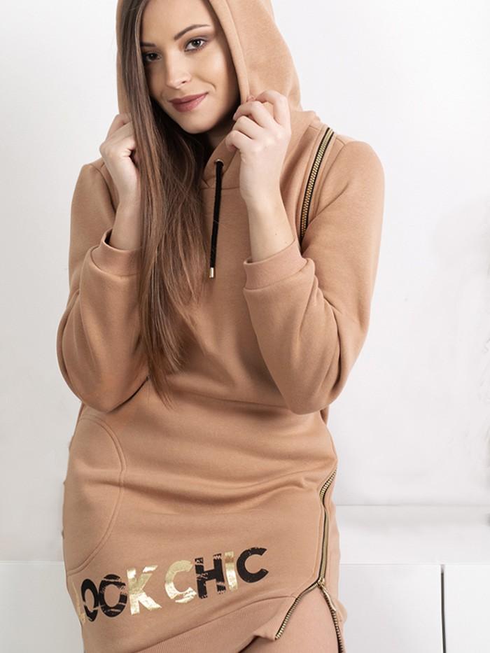 Dresowa sukienka z kapturem karmelowa, midi z suwakami Bee Collection Transit