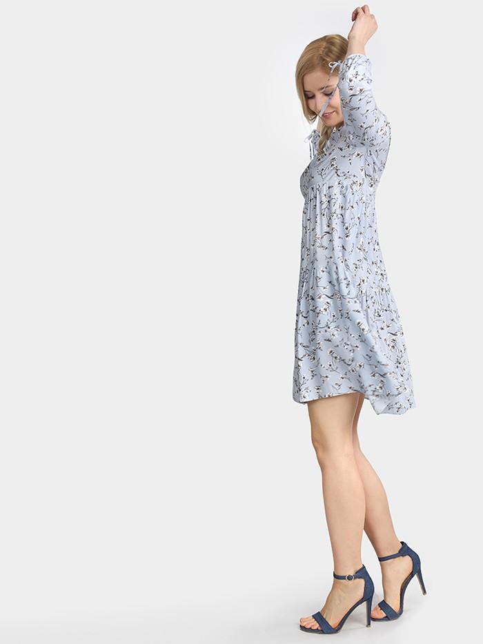 Sukienka midi marszczona w stylu boho błękitna z rękawem Bee Collection Weronika
