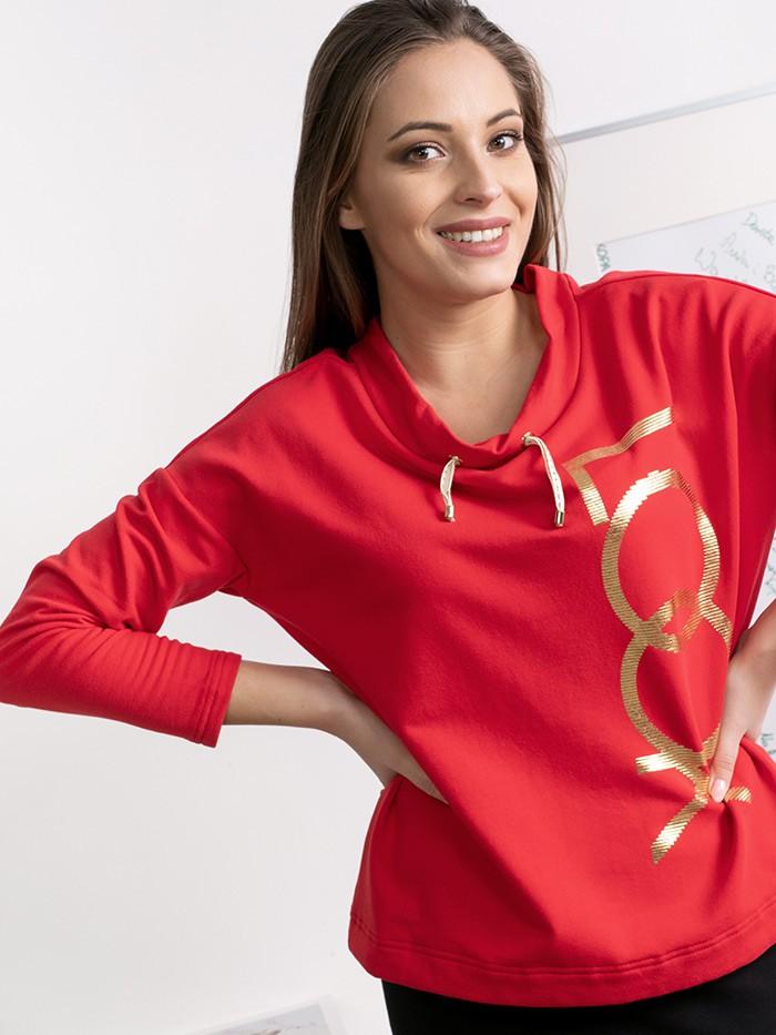 Pudełkowa dzianinowa bluza czerwona z długim rękawem i złotym drukiem Bee Collection Look