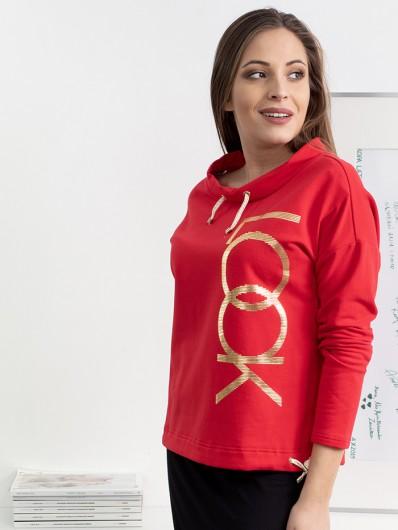 Bluza czerwona ze złotym nadrukiem, wielofunkcyjna, polska bawełna, doskonała jakość Bee Collection Look