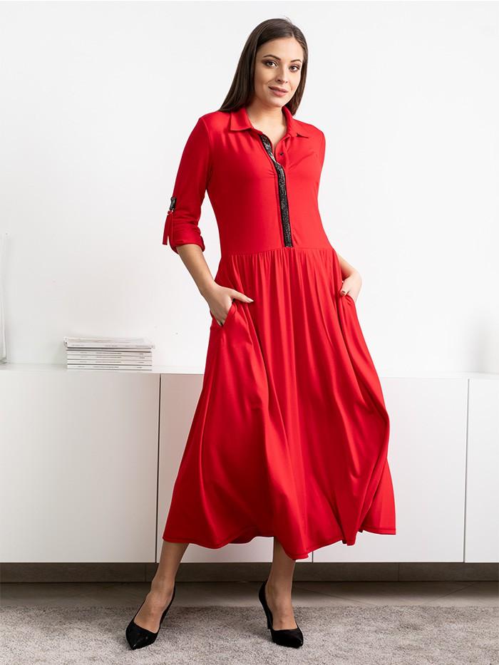 Sukienka z wiskozy, czerwona, z szerokim dołem i gorsetową górą z kołnierzem Bee Collection Andżela