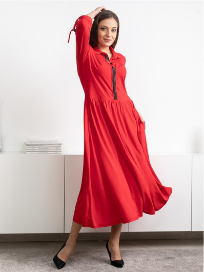 Romantyczna czerwona sukienka z wiskozy, zapinana na napy, z długim rękawem Bee Collection Andżela