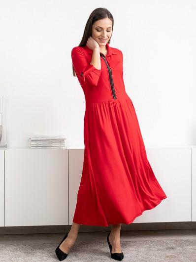 Maxi czerwona sukienka z długim rękawem, romantyczna i uwodzicielska , elegancka i wygodna Bee Collection Andżela
