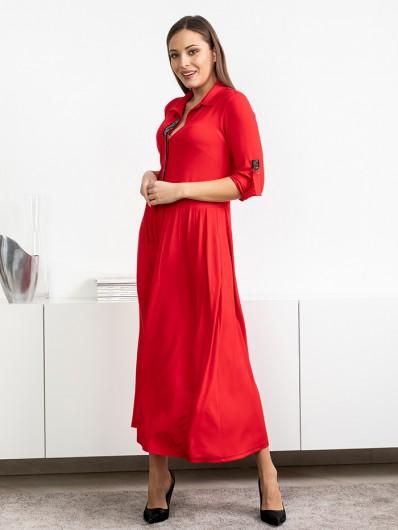 Doskonała, modna czerwona sukienka  z rękawem i kołnierzem koszulowym Bee Collection Andżela