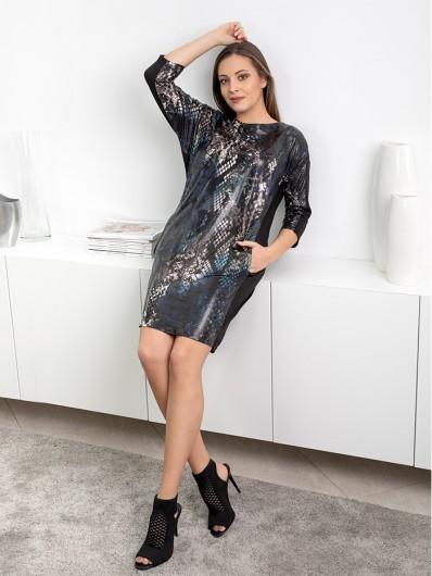 Modna, nowoczesna sukienka casualowa w eleganckim wydaniu, czarna w zwierzęcy wzór węża Bee Collection Ocelot