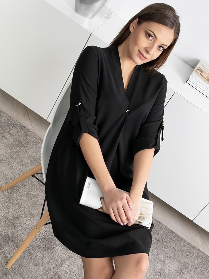 Tuszująca, trapezowa, czarna sukienka z rękawem, elegancka i casualowa Bee Collection Lila