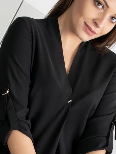 Czarna trapezowa sukienka z kontrafałdą z przodu, midi doskonała na co dzień i od święta Bee Collection Lila
