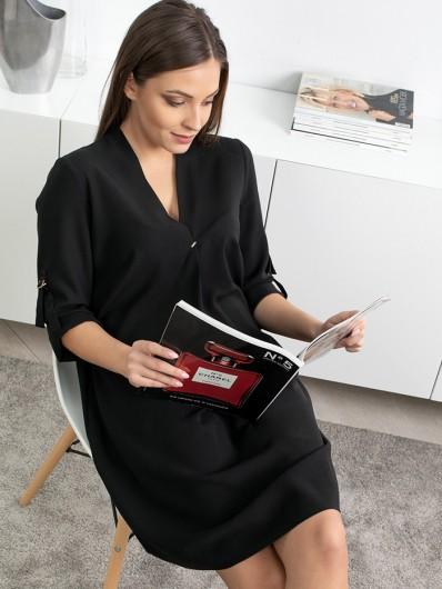 Sportowy, wygodna a jednocześnie elegancka czarna sukienka na wiele stylizacji Bee Collection Lila