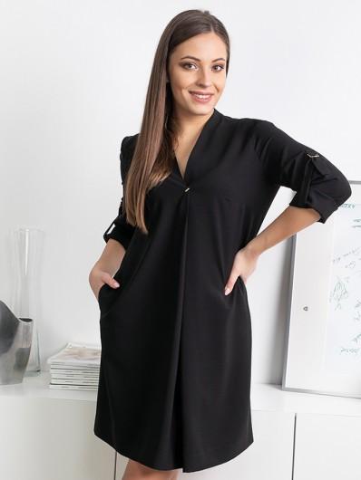 Czarna, tuszująca sukienka, wielofunkcyjna na wyjazdy z dziećmi, spacery z psem czy spotkania biznesowe Bee Collection Lila