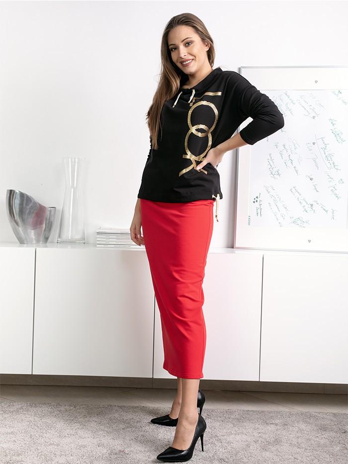 Długa spódnica do kostek, czerwona, dopasowana, spódnica kobieca, Bee Collection Maxi