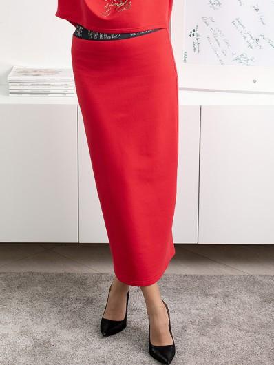 Długa czerwona spódnica do biura, na co dzień,  spódnica wizytowa i codzienna zarazem Bee Collection Maxi