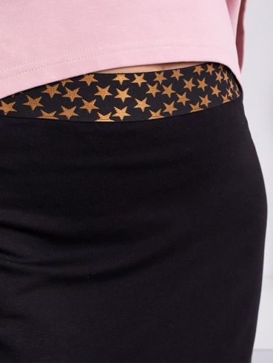 Czarna spódnica zawężona, długa, maxi z ozdobną gumką w gwiazdki spódnica casual , dresowa Bee Collection Maxi