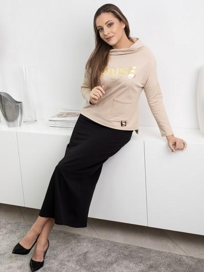 Bluza w stylu sportowej elegancji, jasno beżowa z rękawem na stójce Bee Collection Muse