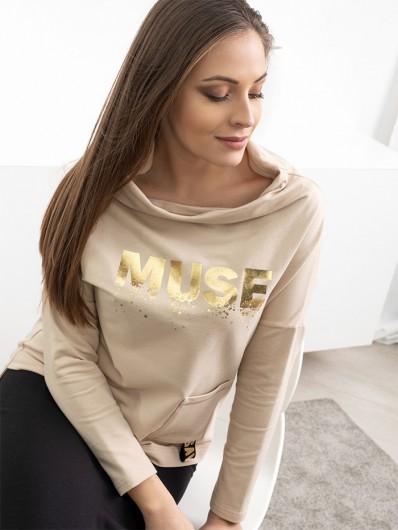 Bluza modna i nowoczesna z odstawioną stójką, luźna z rękawem, jasny beż Bee Collection Muse
