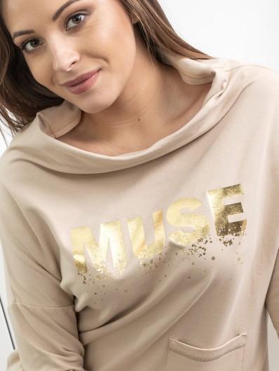 Nowoczesna, modna bluza dzianinowa w kolorze jasnego beżu z rękawem Bee Collection Muse