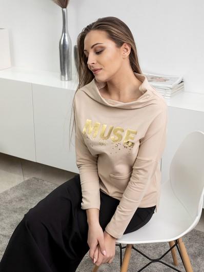 Bluza wygodna dresowa, na stójce styl sportowej elegancji Bee Collection Muse