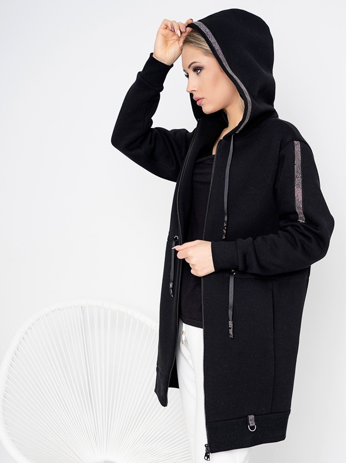 Czarna bluza z kapturem z bawełny organicznej 280 gram, drapana od spodu, długa do kolan Bee Collection Skorpion