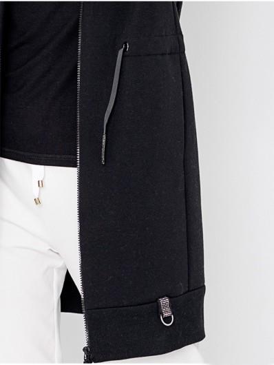 Czarna bluza z bawełny organicznej, tunel do ściągania w pasie, kieszenie i kaptur Bee Collection Skorpion