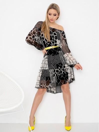 Sukienka kobieca, romantyczna a jednocześnie z pazurem, a wzór nowoczesny geometryczny Bee Collection Zephire