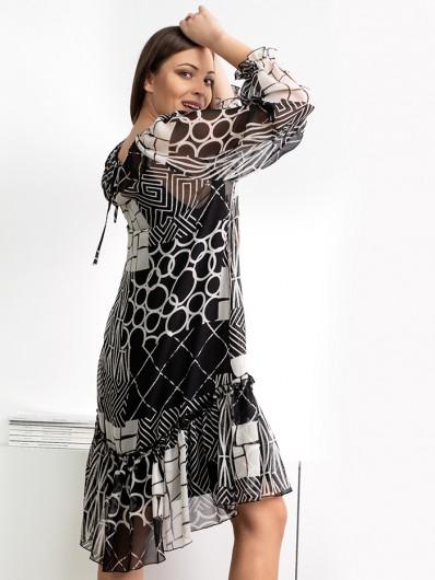 Tuszująca, luźna czarno biała sukienka asymetryczna z rękawem Bee Collection Zephire