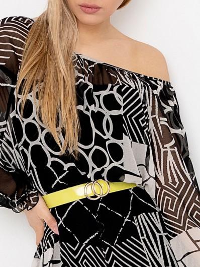 Sukienka z okrągłym dekoltem, regulowane wiązanie pozwala na zalotne odkrycie ramion Bee Collection ZEPHIRE