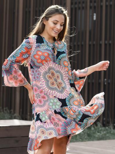 Luźna, tuszująca sukienka z wiskozy drukowanej midi z rękawem Bee Collection Sahara
