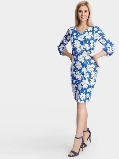 Klasyczna sukienka taliowana do kolana w kwiaty pastelowe Bee Collection Mira