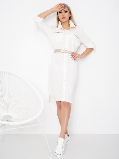 Biała szmizjerka z długim rękawem, do kolan, z kieszeniami z wiskozy Bee Collection Hotress
