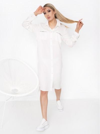 Sukienka koszulowa z wiskozy, łączy styl sportowy i elegancki, wygodna z kieszeniami i srebrnymi dodatkami Hortess