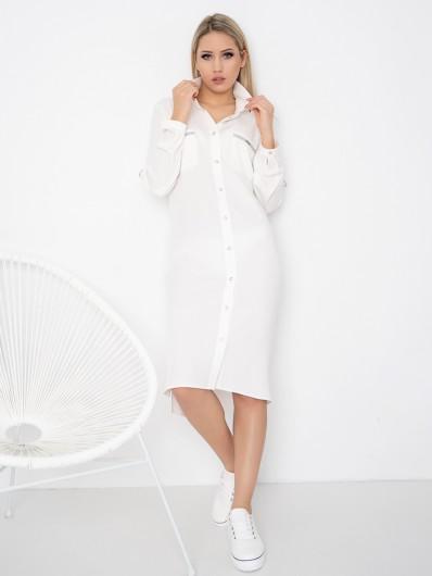 Sportowa i elegancka sukienka z białej wiskozy, doskonała do pracy, na spotkania biznesowe Bee Collection Hortess