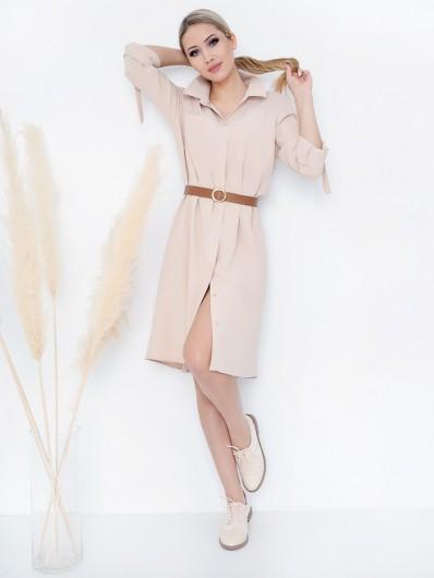 Sukienka szmizjerka w koszulowym wydaniu jasno beżowa, zapinana na springi, napy Bee Collection Hortess