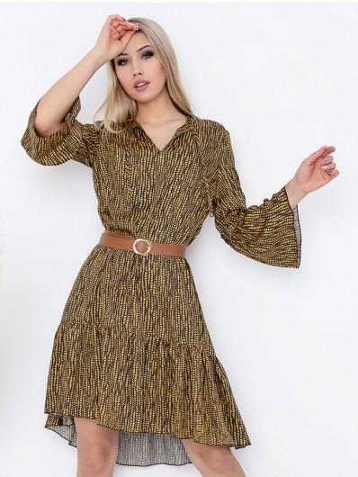 Swobodna tuszująca sukienka boho z rękawem i falbaną Bee Collection Sahara