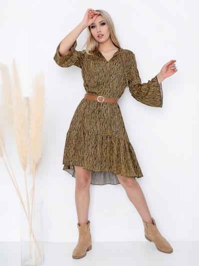 Sukienka boho przed kolana z rękawem i okrągłym dekoltem , do płaskich botków jak i szpilek Bee Collection Sahara