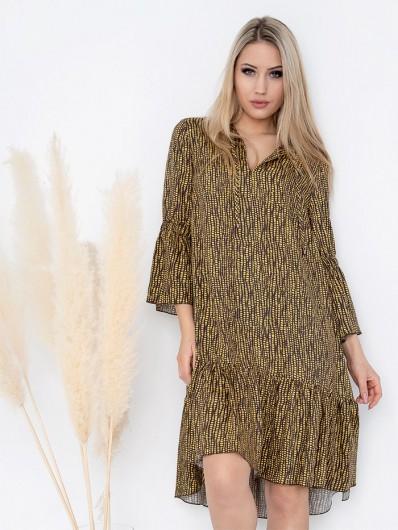 Doskonała sukienka na co dzień, z wiskozy, falbana nadaje sylwetce lekkości, uniwersalny fason Bee Collection Sahara