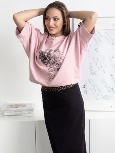Luźna, nowoczesna bluza z dzianiny bawełnianej, oversizowa, z autorskim nadrukiem Bee Collection Niren