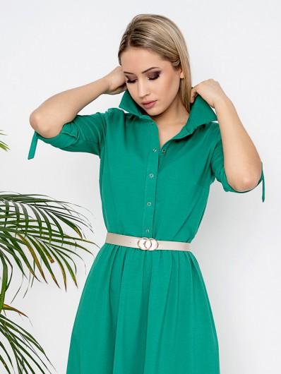 Nowoczesna, modna sukienka w kolorze zieleni, dopasowanej górze i szerokim, tuszującym dole Bee Collection Andżela