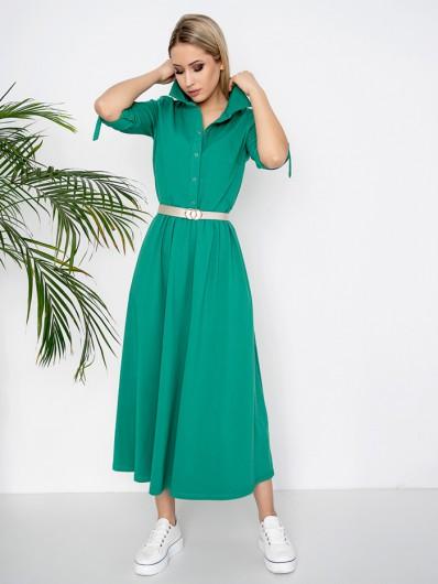 Sportowy luz i elegancja w zielonej sukience z bawełny, długa do kostek, rozpinana Bee Collection Andżela