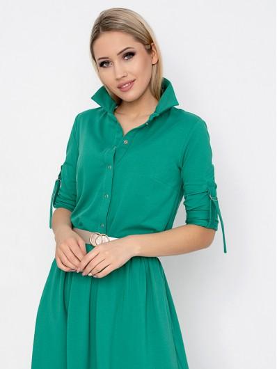 Sukienka z kołnierzykiem, koszulowa z szerokim dołem, zielona, rozpinana, maxi Bee Collection Andżela
