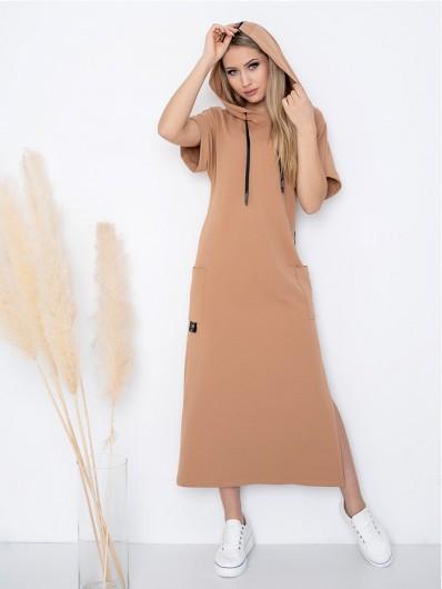 Sukienka maxi, długa do kostek z rękawkiem, camelowa suknia do pracy z kapturem i kieszeniami Bee Collection Luxia