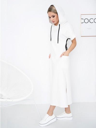 Nowoczesna bawełniana sukienka z kieszeniami i kapturem z eleganckimi lampasami z dżetami Bee Collection Luxia