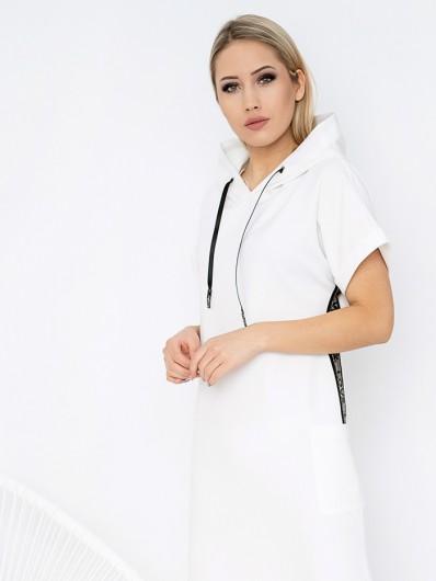 Sukienka lekko taliowana z krótkim rękawem i kapturem, suknia maxi wygodna, sportychic, na wiele okazji Bee Collection Luxia