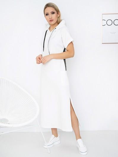 Świetna sukienka łączące wygodę i elegancję, casualowa w białym kolorze z kapturem Bee Collection Luxia
