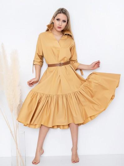 Szeroka, żółta sukienka z falbaną i rękawem na, kobieca z koszulowym kołnierzem Bee Collection Yara