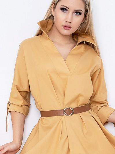 Sukienka w sportowym wydaniu, bawełniana, na luzie, szeroka z kołnierzem koszulowym Bee Collection Yara