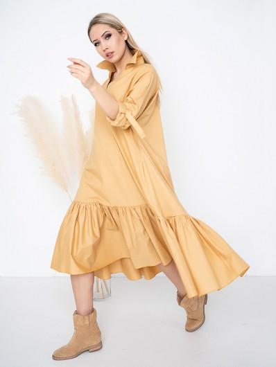 Oryginalna, modna żółta sukienka do wielu stylizacji, bardzo szeroka, na wesele, do pracy Bee Collection Yara